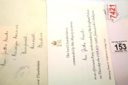 1968 invitation to a Buckingham Palace Garden Party, with envelope from the Lord Chamberlain. P&P