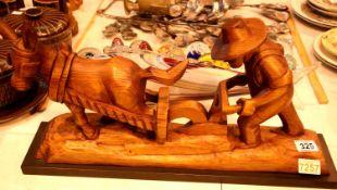 Spanish carved oak ploughman and horse. Not available for in-house P&P