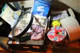 Two boxes of mixed household items including tins, granite hot plate, Rosemary Conley? exercise
