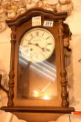 Reproduction oak effect cased wall clock. Not available for in-house P&P