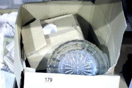 Box of mixed ceramics and glass. Not available for in-house P&P.