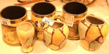 Three small colourful vases and three Gibsons single handled tankards. Not available for in-house
