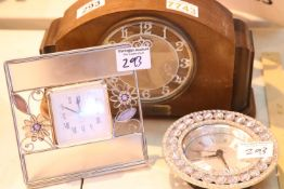 Oak cased mantel clock and two other clocks. Not available for in-house P&P