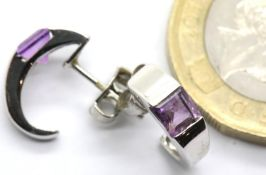 Pair of ladies 9ct white gold amethyst set earrings. P&P Group 1 (£14+VAT for the first lot and £1+