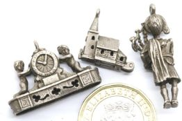 Three silver vintage assorted charms. P&P Group 1 (£14+VAT for the first lot and £1+VAT for