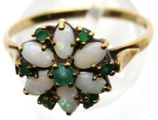 9ct gold, opal and green stone set flower head ring, size T, 2.8g. P&P Group 1 (£14+VAT for the