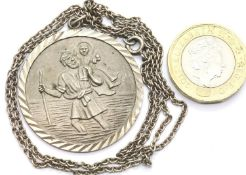 Silver vintage 35mm diameter St Christopher and chain. P&P Group 1 (£14+VAT for the first lot and £