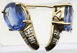 Ladies American 10ct gold, sapphire and diamond earrings. P&P Group 1 (£14+VAT for the first lot and