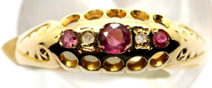 Ladies antique 18ct gold, ruby and diamond ring, size N, 1.7g. P&P Group 1 (£14+VAT for the first