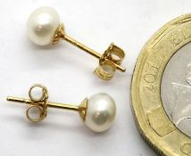 Ladies American 14ct new old stock pearl stud earrings. P&P Group 1 (£14+VAT for the first lot