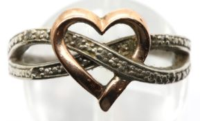 Silver and gold diamond set heart ring, size N, 3.5g. P&P Group 1 (£14+VAT for the first lot and £