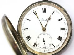 Continental 925 silver cased key wind pocket watch, the dial marked Kay's Triumph, with Roman