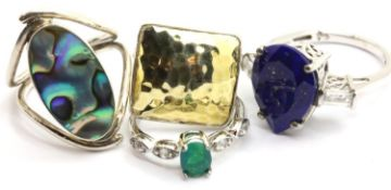 Four silver assorted stone set rings. P&P Group 1 (£14+VAT for the first lot and £1+VAT for