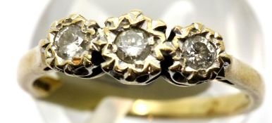 Ladies vintage 9ct gold three stone diamond ring, size O, 2.5g. P&P Group 1 (£14+VAT for the first