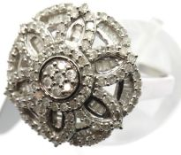 Ladies 9ct white gold diamond cluster ring, size Q, 5.6g. P&P Group 1 (£14+VAT for the first lot and