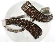 9ct white gold ring with orange stones and diamonds, size O, 3.5g. P&P Group 1 (£14+VAT for the