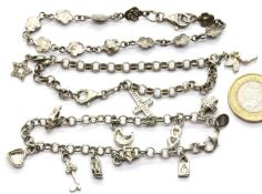 Three silver charm bracelets, combined 30g. P&P Group 1 (£14+VAT for the first lot and £1+VAT for
