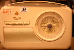 Cream GPO Rydell retro portable DAB+/DAB band III/FM digital radio with retro dial face, boxed.