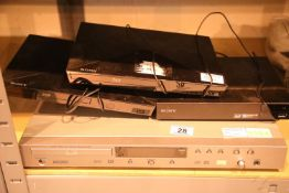 Three Sony Blu Ray and DVD players, and an REC 950 DVD player with remote. Not available for in-