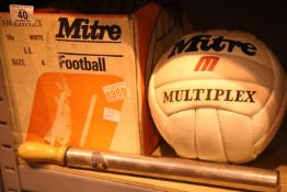 Mitre Multiplex size 4 white football, boxed with pump. Not available for in-house P&P