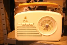Cream GPO Rydell retro portable four band analogue radio, MW/LW/SW/FM with retro dial face, boxed.