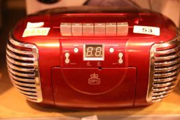 Red 3 in 1 FM/AM radio, CD and cassette player, boxed GPO PCD299. Not available for in-house P&P