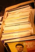 "Box containing a large selection of 7"" vinyls including Sacha Distel, the Ventures etc. Not"