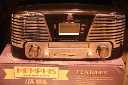 Black GPO Memphis retro music centre - 3 speed turntable, 33/45/78; MP3/USB player; FM radio with