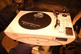 White Jive music centre - 3 speed turntable: 33/45/78; CD/MP3/USB player; FM radio and remote