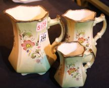 Graduated set of three Staffordshire jugs. Not available for in-house P&P