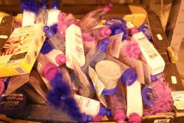 Box containing a large quantity of ladies bath crystals, body lotions, body scrubs etc. Not