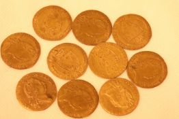 Ten Guinea gaming tokens. P&P Group 1 (£14+VAT for the first lot and £1+VAT for subsequent lots)
