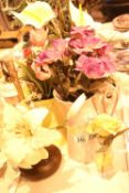 Six synthetic flower arrangements in an assortment of glass and china etc. Not available for in-
