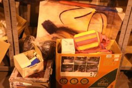 Box containing unused cooler bags, electric heat pad, Cookworks coffee machine and other items.