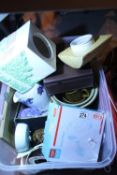 Box of mixed ceramics and a hand blender, hairdryer etc. Not available for in-house P&P