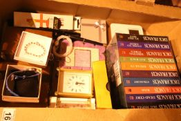 Box of mixed items including pens and Dick Francis novel. Not available for in-house P&P