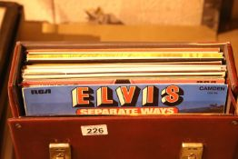 Carry box of LPs including Elvis. Not available for in-house P&P