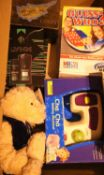 Quantity of boxed items and a Rush teddy bear. Not available for in-house P&P