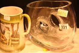 Orrefors type glass vase and Victorian jug. Not available for in-house P&P
