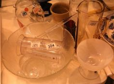 Selection of glassware to include eight piece punch bowl. Not available for in-house P&P