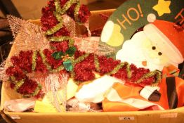 Box of assorted Christmas decorations. Not available for in-house P&P