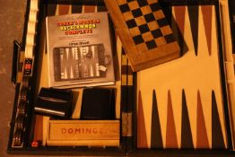Gorens modern backgammon set and a chess board. Not available for in-house P&P
