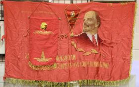 Russian Soviet Lenin double sided silk fringed flag, 180 x 90 cm and two banners. P&P Group 1 (£14+