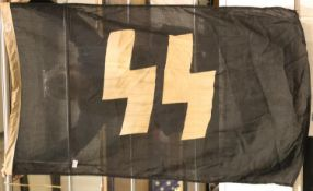 German WWII type SS flag, 150 x 90 cm. P&P Group 1 (£14+VAT for the first lot and £1+VAT for