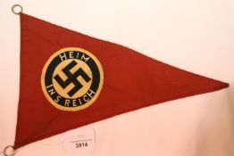 German WWII type Reich pennant, L: 36 cm. P&P Group 1 (£14+VAT for the first lot and £1+VAT for