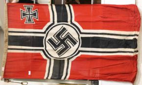 German WWII type battleflag, 135 x 80 cm. P&P Group 1 (£14+VAT for the first lot and £1+VAT for