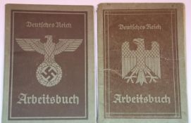 Two German Third Reich type Arbeitsbuch civilian employment identification books. P&P Group 1 (£14+