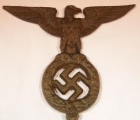 German WWII type cast metal flagpole finial, W: 18.5 cm. P&P Group 1 (£14+VAT for the first lot