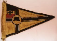 German Imperial WWI type Old Comrades pennant, L: 27 cm. P&P Group 1 (£14+VAT for the first lot