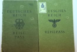 Two German Third Reich type Reisepass German State travel documents, both for Erich Leske, issued